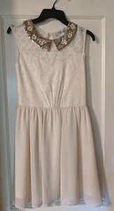 Pinky champagne dress with beaded collar nwt